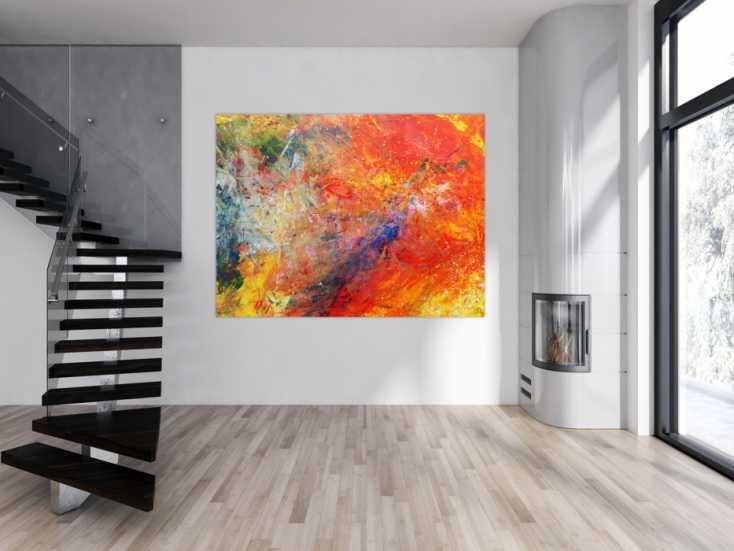 abstraktes acrylbild sehr bunt modern luxus auf leinwand 150x200cm. Black Bedroom Furniture Sets. Home Design Ideas