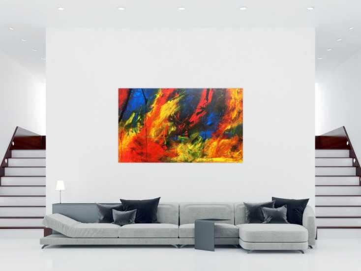 xxl acrylbild abstrakt bunt mit vielen farben modern auf leinwand 120x200cm. Black Bedroom Furniture Sets. Home Design Ideas