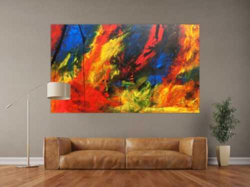 XXL Acrylbild abstrakt bunt mit vielen Farben modern