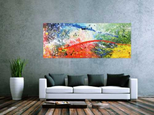 Modernes Acrylbild abstrakt weiß brau rot