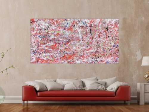 Abstraktes Acrylbild modern rote Farben