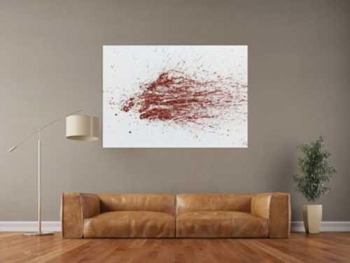 Modernes Acrylbild schlicht abstrakt Spritzer weiß braun