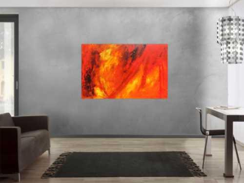 Oranges abstraktes Acrylbild rote Farben modern