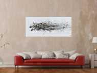 Schlichtes Acrylbild abstrakt modern weiß braun