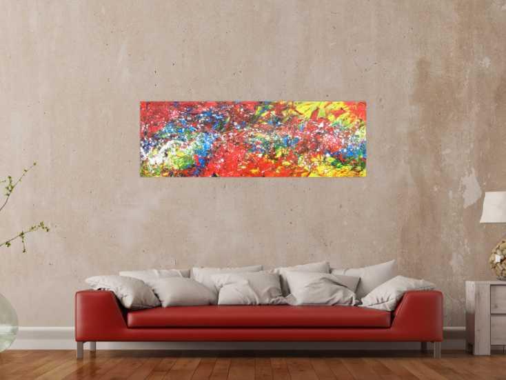abstraktes acrylbild bunt modern viele farben auf leinwand 50x150cm. Black Bedroom Furniture Sets. Home Design Ideas