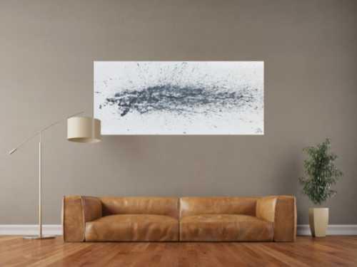 Modernes Acrylbild abstrakt schlicht weiß grau