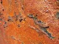 Detailaufnahme Abstraktes Acrylbild aus echtem Rost modern Kunst aus Rost