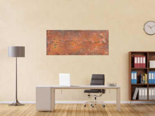 Abstraktes Acrylbild aus echtem Rost modern Kunst aus Rost