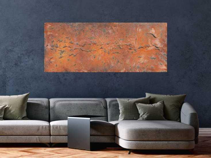 #343 Abstraktes Acrylbild aus echtem Rost modern Kunst aus Rost 60x150cm von Alex Zerr