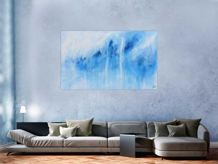 #344 Schlichtes Acrylbild blau weiß modern abstrakt 100x160cm von Alex Zerr