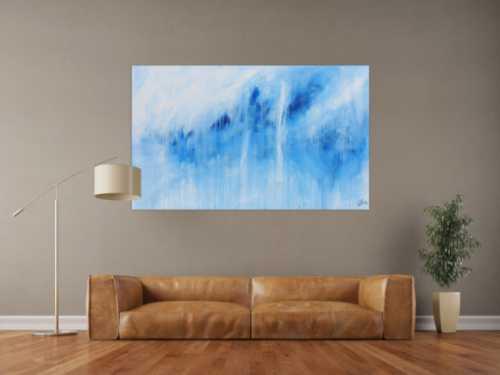 Schlichtes Acrylbild blau weiß modern abstrakt
