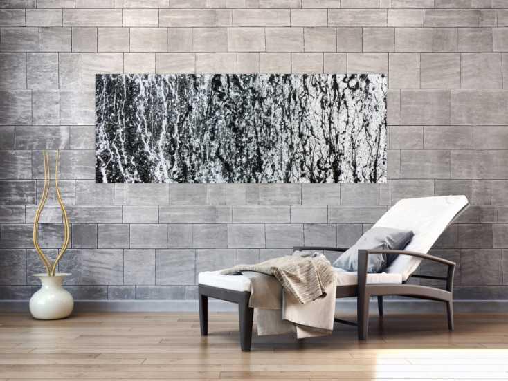 modernes gem lde abstrakt schlicht schwarz wei auf leinwand 70x180cm. Black Bedroom Furniture Sets. Home Design Ideas