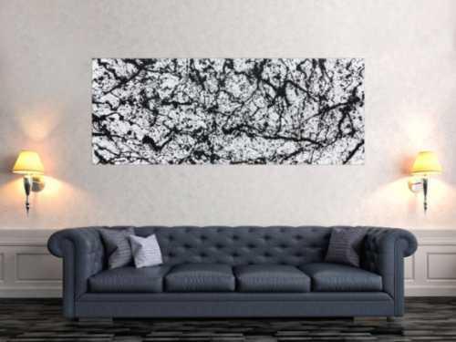 Abstraktes Acrylbild modern schlicht schwarz weiß