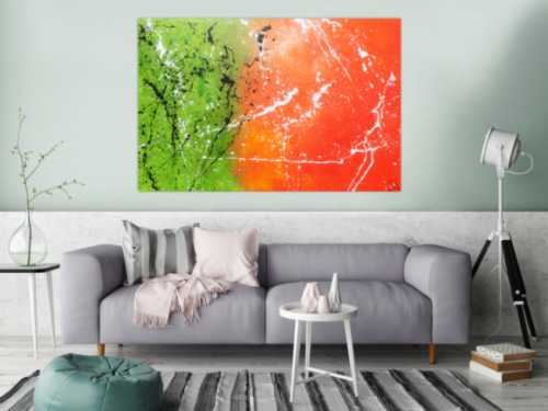 Abstraktes Acrylbild orange grün modern