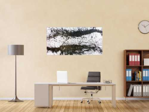 Modernes Acrylgemälde schwarz weiß abstrakt