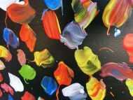 Detailaufnahme Buntes Acrylbild abstrakt viele Farben modern