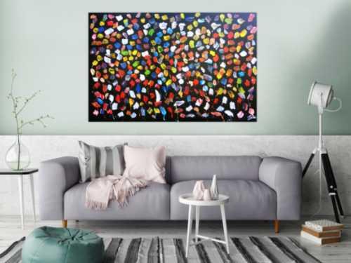 Buntes Acrylbild abstrakt viele Farben modern