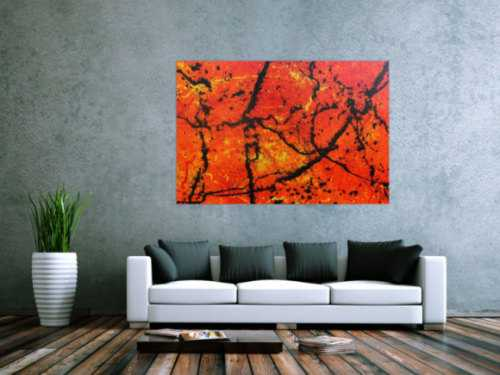 Abstraktes Acrylbild in orange sehr modern