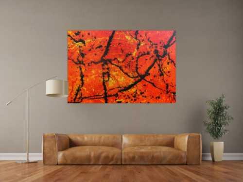 Abstraktes Acrylbild in orange sehr modern