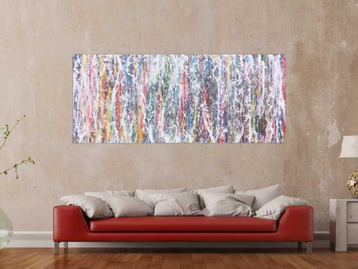 abstraktes acrylbild bunt modern farbenfroh auf leinwand 80x200cm. Black Bedroom Furniture Sets. Home Design Ideas