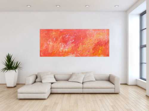 Abstraktes Acrylbild in hellen Farben rosa orange