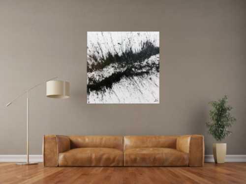 Sehr modernes abstraktes Acrylbild in schwarz weiß minimalistisch