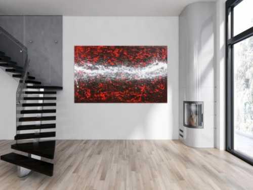 Großes Acrylbild in rot weiß sehr modern und absttrakt