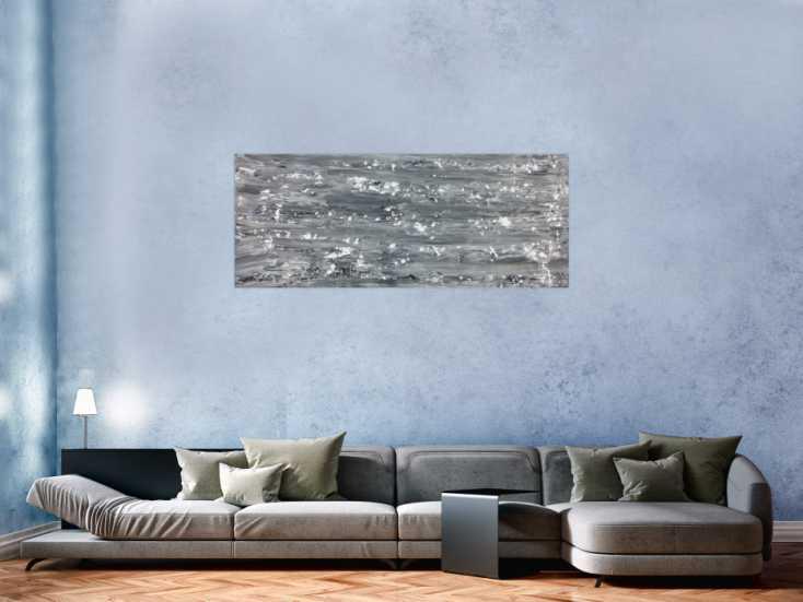 abstraktes acrylbild schlicht in grau schwarz wei auf leinwand 60x150cm. Black Bedroom Furniture Sets. Home Design Ideas