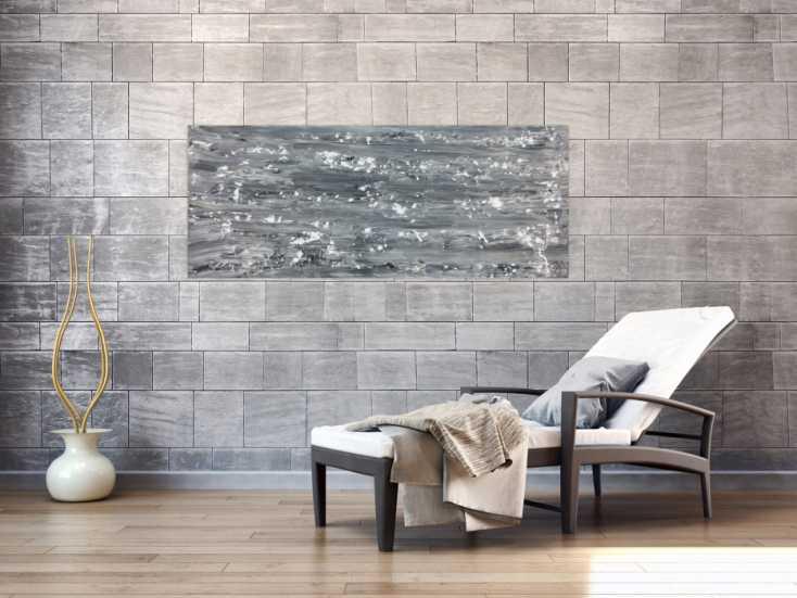 abstraktes acrylbild schlicht in grau schwarz wei auf. Black Bedroom Furniture Sets. Home Design Ideas