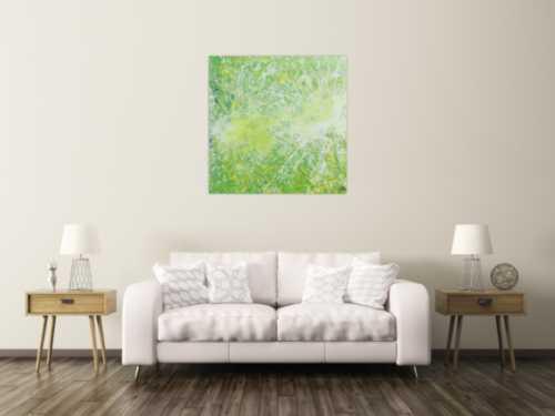Abstraktes Acrylbild quadrtatisch in hellen Farben sehr modern