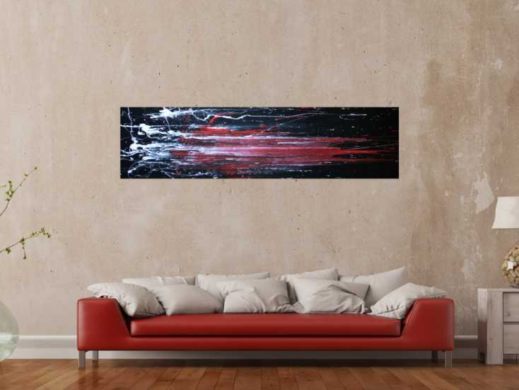 abstraktes acryl gem lde schwarz rot auf leinwand 40x180cm. Black Bedroom Furniture Sets. Home Design Ideas