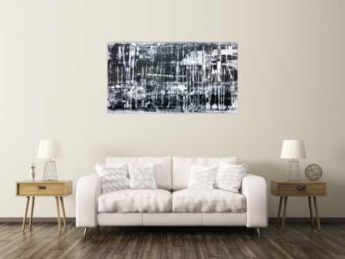 Sehr modernes und schlichtes Acrylbild in schwarz weiß
