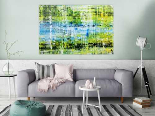 Abstraktes Acrylbild in grün gelb blau modern und speziell