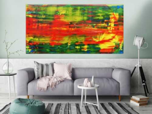 Modernes abstraktes Acrylbild in rot und grün