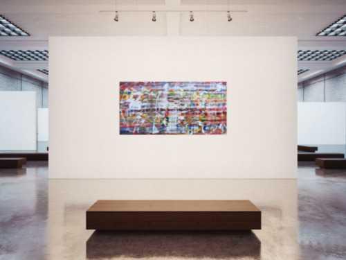 Abstraktes Acrylbild mit hellen bunten Farben modern