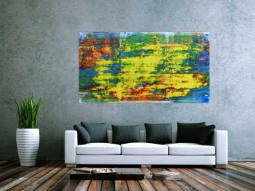Modernes Acrylgemälde sehr abstrakt bunt blau gelb