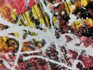 Detailaufnahme Abstraktes Acrylbild in rot schwarz gelb und weiß sehr modern