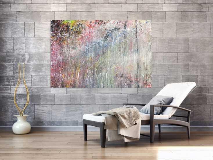 abstraktes acrylbild bunt modern sch nes gem lde auf leinwand 100x150cm. Black Bedroom Furniture Sets. Home Design Ideas