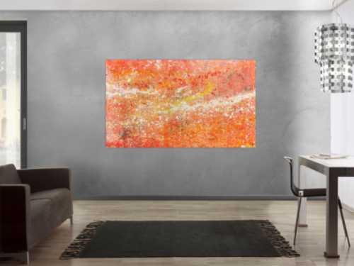 Moderes abstraktes Acrylbild in Orange weiß