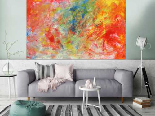 Abstraktes Acrylgemälde modern bunt hell viele Farben