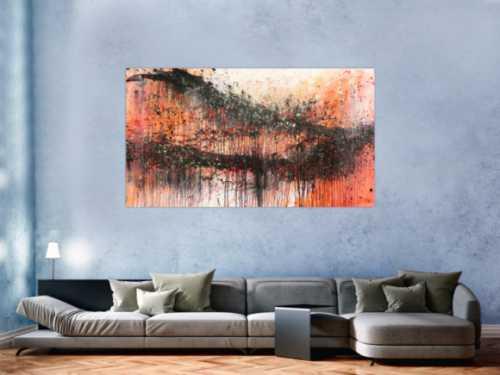 Modernes Acrylbild abstrakt orange schwarz
