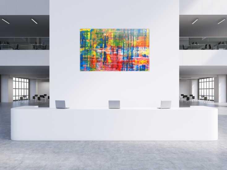 #387 Buntes Acrylbild abstrakt Spachteltechnik modern 120x200cm von Alex Zerr