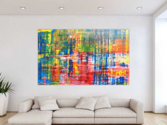 Buntes Acrylbild abstrakt Spachteltechnik modern 120x200cm