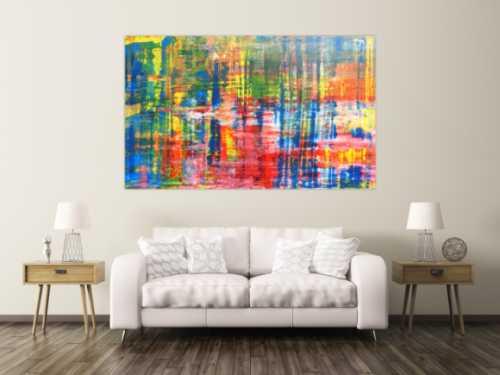 Buntes Acrylbild abstrakt spachtel Technik modern