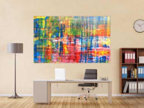 Buntes Acrylbild abstrakt Spachteltechnik modern