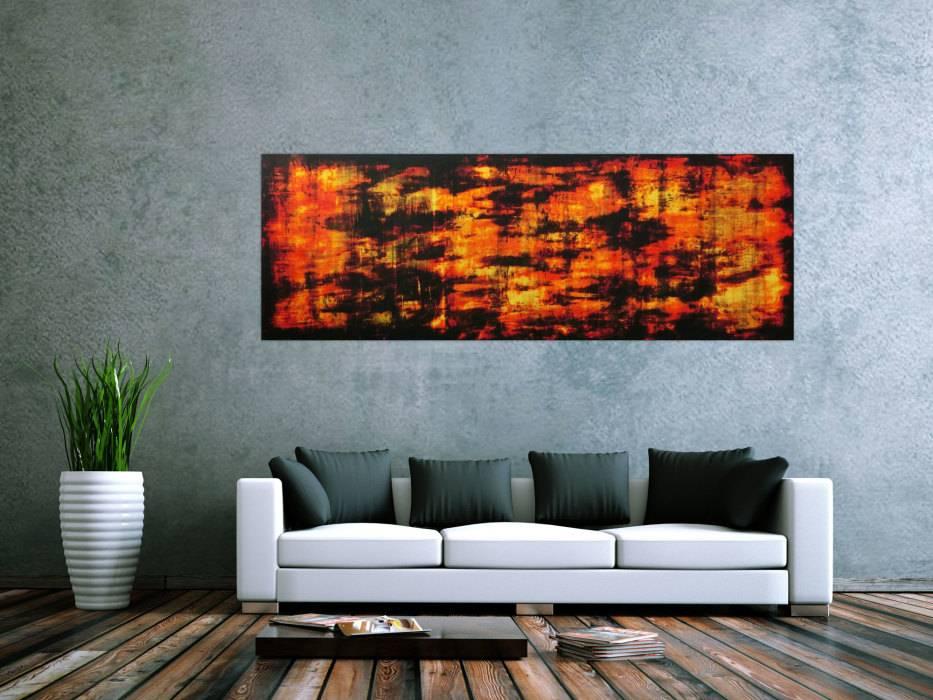 Abstraktes Acryl Gemälde Feuer handgemalt auf Leinwand in 70x200cm ...
