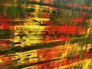 Detailaufnahme Abstraktes Acrylbild Spachteltechnik grün gelb rot