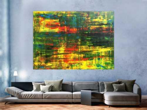 Abstraktes Acrylbild Spachteltechnik grün gelb rot