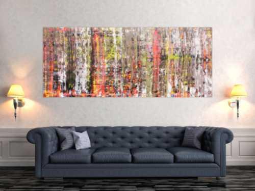 Abstraktes Acrylbild modern bunt weiß hell