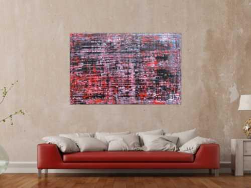 Modernes Acrylbild groß schwarz rot